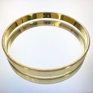 Monet Signed White Enamel Gold Tn Bangle Bracelet